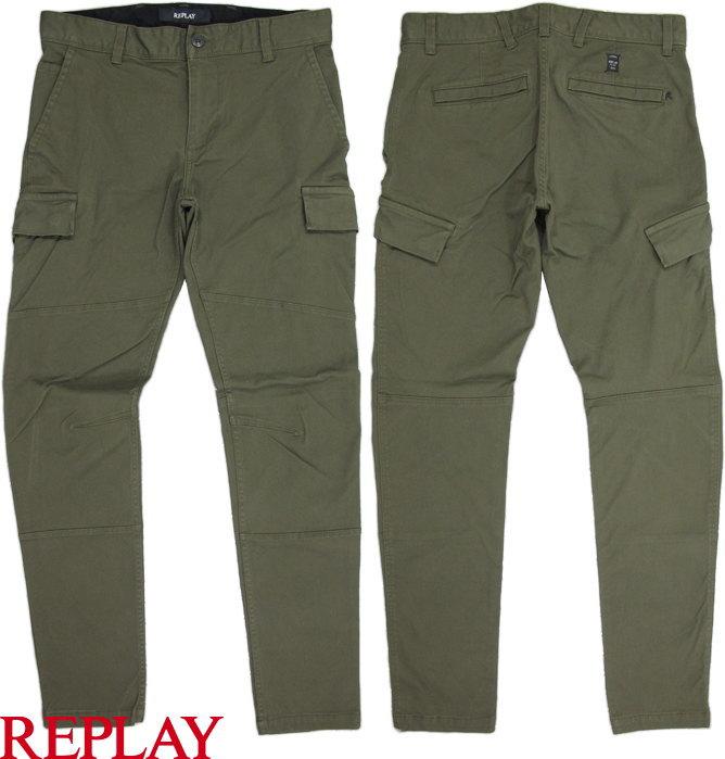 REPLAY/リプレイ M9506 SLIM FIT STRETCH PANTS スリムストレッチカーゴパンツ OLIVE GREEN(オリーブグリーン)