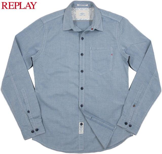 【SALE】30%OFF★REPLAY/リプレイ MEN'S COTTON SHIRT コットンシャンブレーシャツ LIGHT BLUE(ライトブルー)/M4891