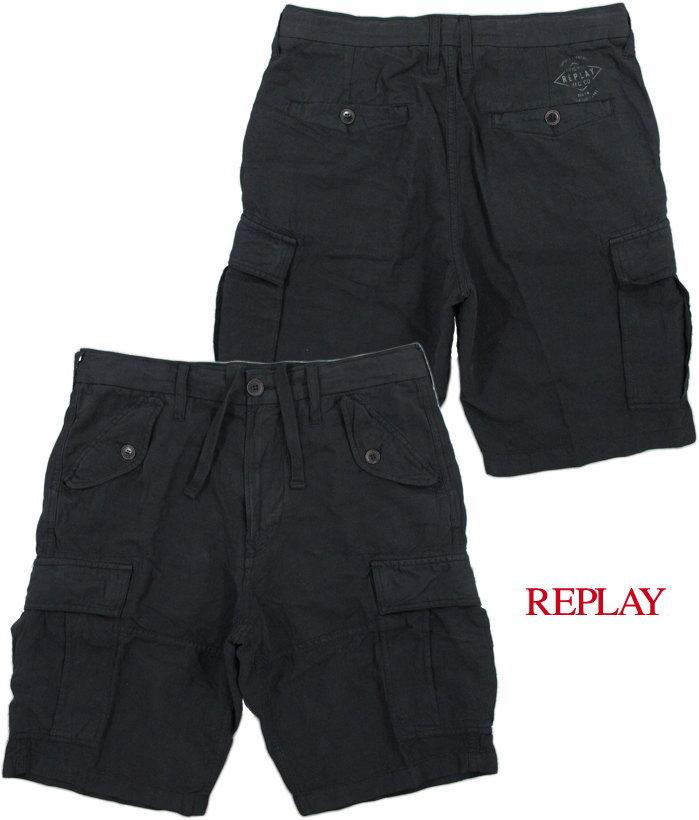【SALE】30%OFF★REPLAY/リプレイM9492CARGO SHORTSブラックカーゴショーツ/麻混カーゴパンツBLACK(ブラック)