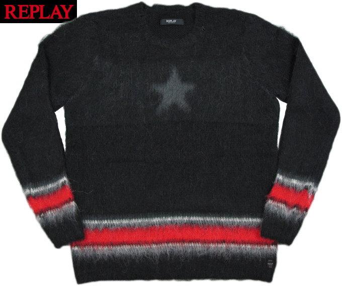 REPLAY/リプレイ UK1435 Brushed-effect alpaca sweater アルパカウールセーター/アルパカクルーニット BLACK(ブラック)