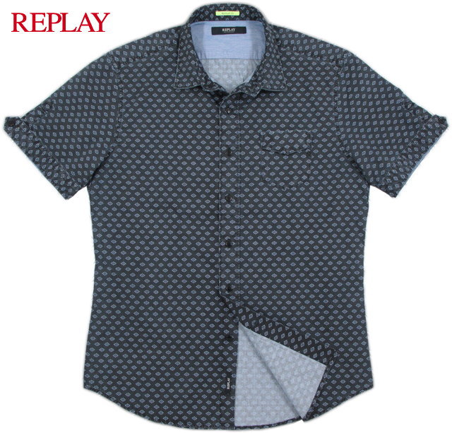 REPLAY/リプレイ M4931 Floral shirt with chest pocket 小花柄プリント入り、半袖シャツ Nearly Black/Micro flower(ダークネイビー)