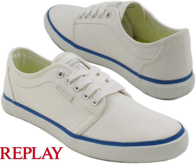 "REPLAY/リプレイ Sneakers""BARTOM"" コットンキャンバススニーカー WHITE(ホワイト)/GMV72"