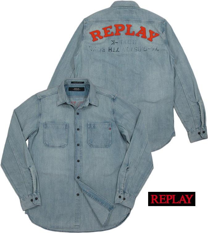 REPLAY/リプレイ M4975P BLUE DENIM SHIRT ワッペンロゴ入り、デニムシャツ BLUE DENIM(ブルーデニム)