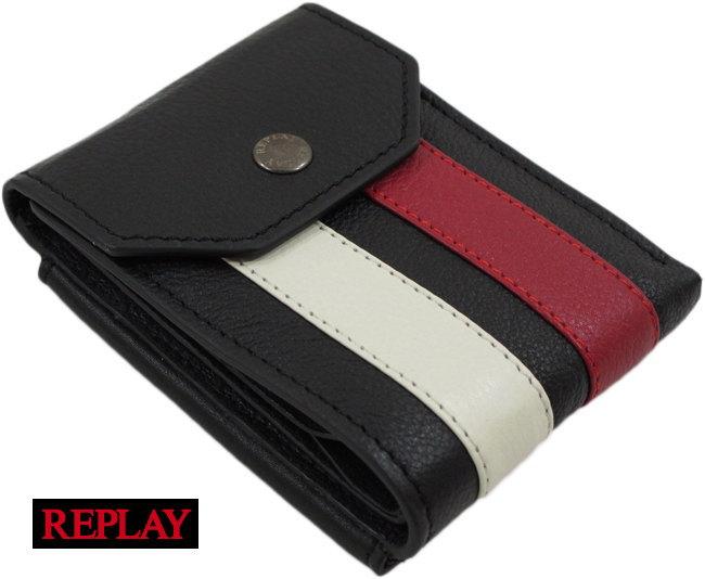 【プレゼントにいかがでしょう?】機能面が充実★使い込むほどに味が出る!REPLAYの 二つ折り、レザー財布♪ REPLAY/リプレイFM5115 STRIPED LEATHER WALLET(レザーウォレット) BLACK(ブラック)