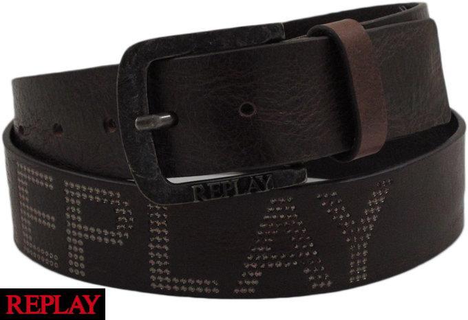 REPLAY/リプレイ AM2454 douglas leather belt with logo 型押しロゴ入り、レザーベルト BROWN(ブラウン)