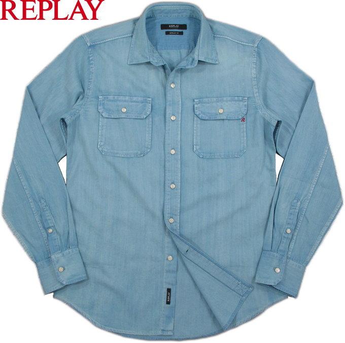 REPLAY/リプレイ M4963 4.5oz. BLUE DENIM SHIRT4.5オンス、薄淡ブルーデニムシャツ