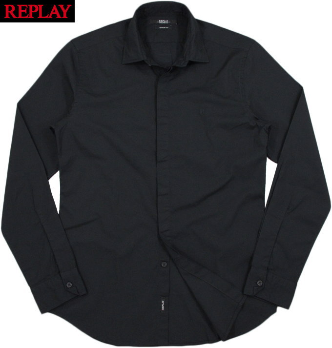 REPLAY/リプレイM4921C POPLIN SHIRT R-SHAPED EMBROIDERY フライフロント(比翼仕立て)ストレッチ長袖シャツ/黒無地シャツ BLACK(ブラック)