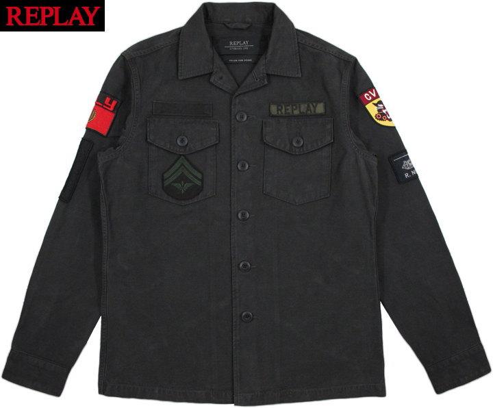 REPLAY/リプレイM8825 ARMY JACKET PATCH ワッペン付きアーミージャケット/ファティーグジャケット NEARLY BLACK(ニアリーブラック)