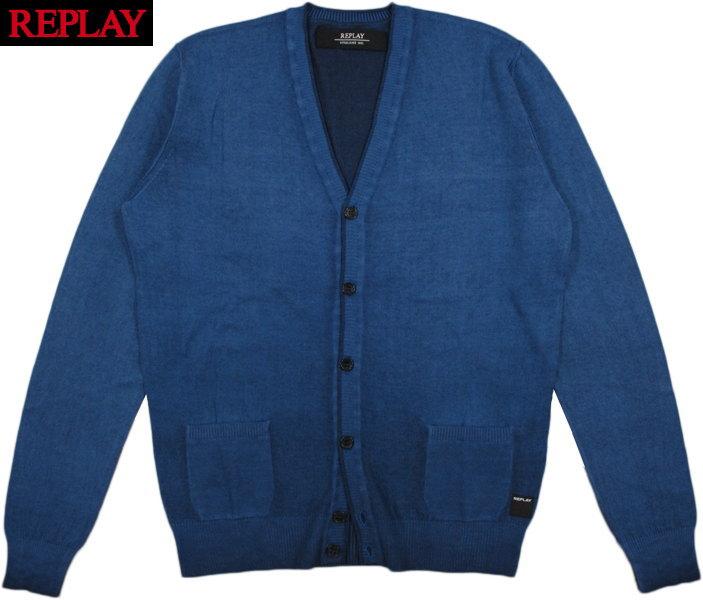 REPLAY/リプレイ UK1752 FADED COTTON CARDIGAN コットンカーディガン/綿ニットカーディガン VIOLET BLUE(バイオレットブルー)