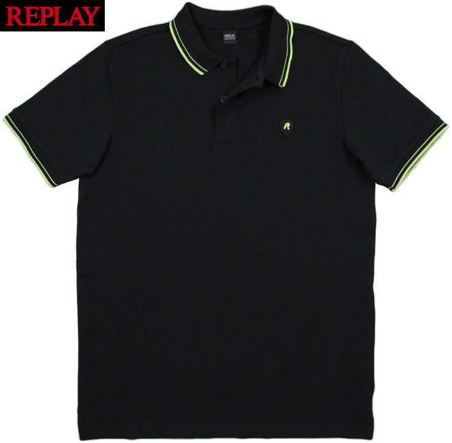 REPLAY/リプレイ M3536 STRETCH PIQUE POLO SHIRTS刺繍ロゴ入り、ストレッチ半袖ポロシャツ BLACK(ブラック)