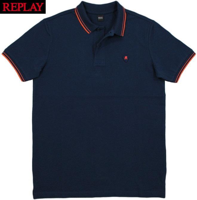 REPLAY/リプレイ M3536 STRETCH PIQUE POLO SHIRTS刺繍ロゴ入り、ストレッチ半袖ポロシャツ NAVY(ネイビーブルー)