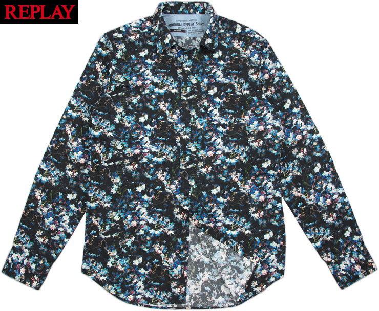 REPLAY/リプレイ M4953W FLORAL-PRINT CREPE SHIRT 花柄プリント長袖コットン シャツ FLOWER ON BLACK(ブラック)