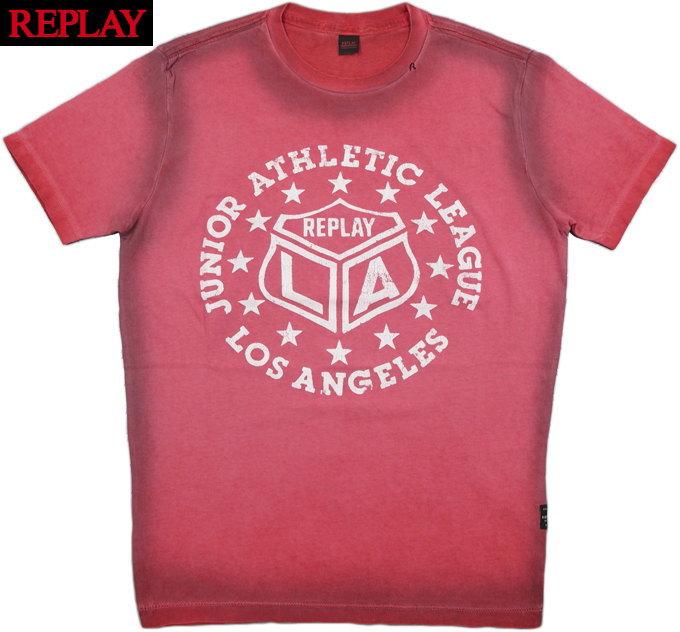 REPLAY/リプレイ M3483 PTINTED TIE-DYE JERSEY T-SHIRT 半袖プリントTシャツ LIGHT RED(ピンク)