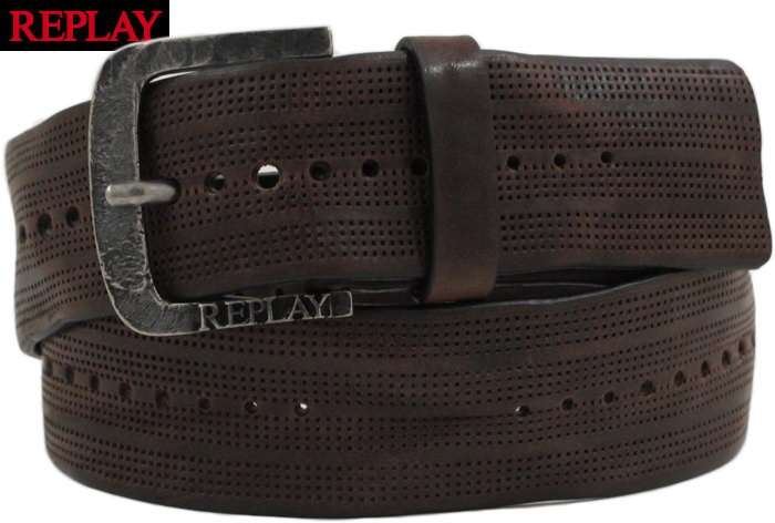 REPLAY/リプレイ AM2494 PUNCHED VINTAGE LEATHER BELT パンチングレザーベルト BROWN(ブラウン)