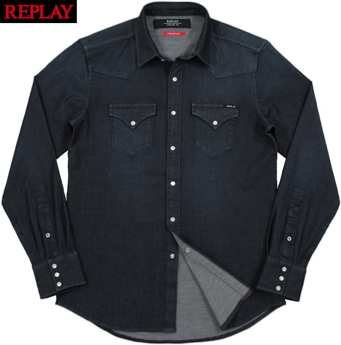 REPLAY/リプレイM4001 SHIRT IN HYPERFLEX FABRIC ハイパーフレックス デニムシャツ/ストレッチウェスタンシャツ DARK BLUE(ダークブルー)