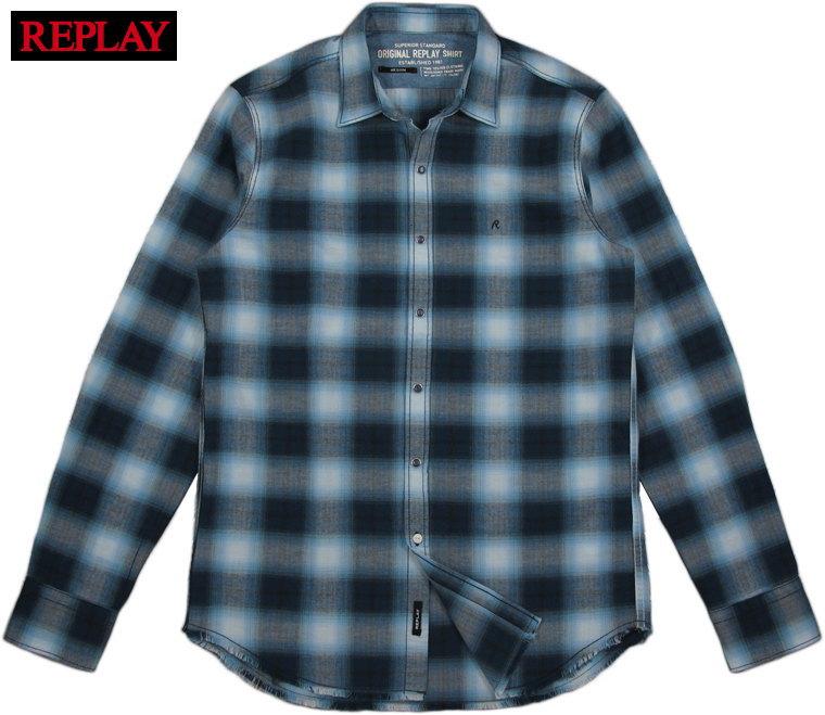 REPLAY/リプレイ M4008 OMBRE CHECK SHIRTオンブレ・チェックシャツ BLUE(ブルー×ホワイト)