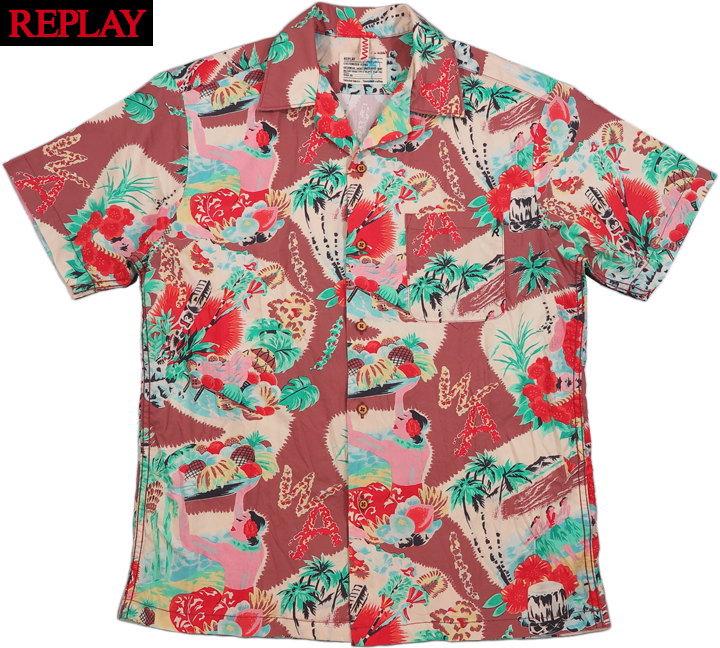 REPLAY/リプレイ M4985 SHIRT WITH HAWAIIAN PRINT ハワイアンプリント半袖コットン シャツ/アロハシャツ/ハワイアンシャツ BROWN/RED/GREEN HAWAIIAN PRINT(ブラウン×レッド×グリーン)