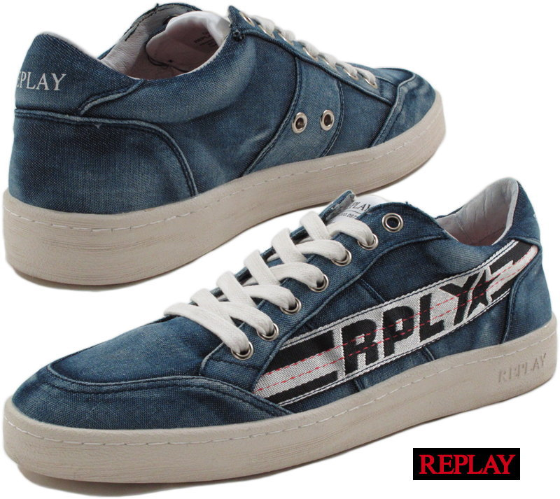REPLAY/リプレイ MEN'S DUPREE LACE UP DENIM SNEAKERS デニムスニーカー NAVY(ネイビー)/GMZ52