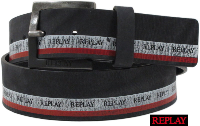 REPLAY/リプレイ AM2543 LEATHER BELT レザーベルト BLACK(ブラック)