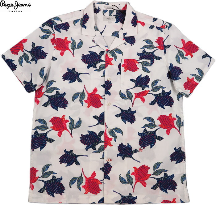 Pepe Jeans/ペペジーンズ MILES FLORAL PRINT SHIRT 花柄プリントシャツ/アロハシャツ MULTI(ホワイト)