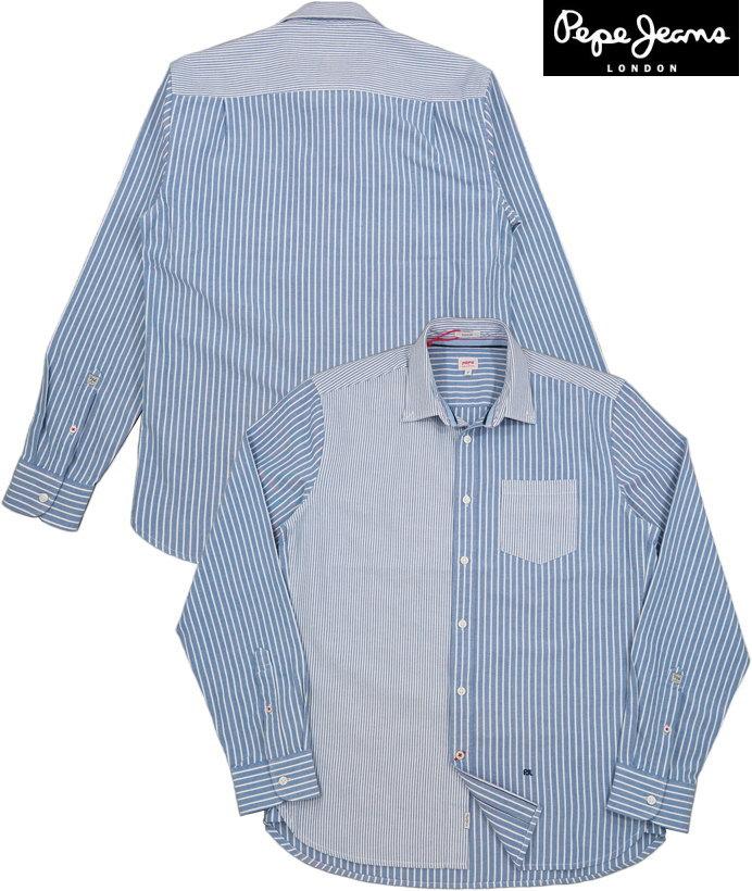 Pepe Jeans/ペペジーンズ PM306096 JASON PRINTED LONG-SLEEVED SHIRT クレイジーパターン ストライプB.D.シャツ/ボタンダウンシャツ BLUE(ブルー)