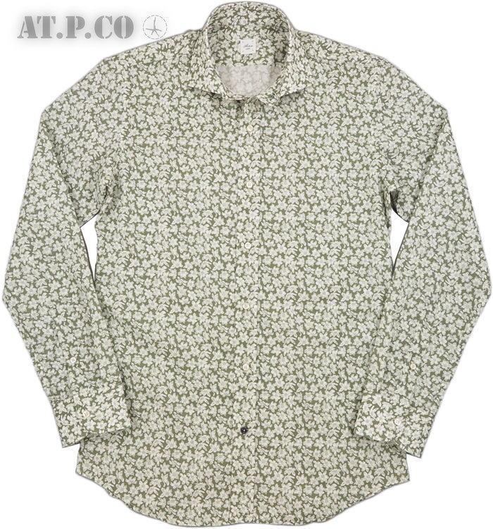 AT.P.CO/アティピコ A206TERRA 花柄プリント ホリゾンタルカラーシャツ/ワイドスプレッドシャツ OLIVE(オリーブ)