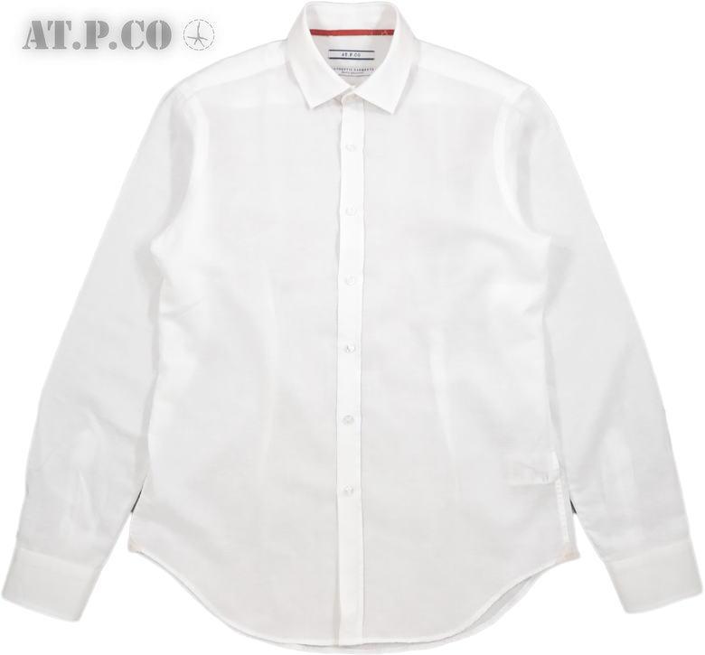 AT.P.CO/アティピコ A206CARL コットン×リネン ホリゾンタルカラーシャツ/ワイドスプレッドシャツ WHITE(ホワイト)