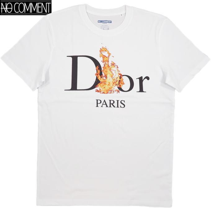 NO COMMENT PARIS/ノーコメントパリ BURING D/T-SHIRT 半袖プリントTシャツ/カットソー WHITE(ホワイト)
