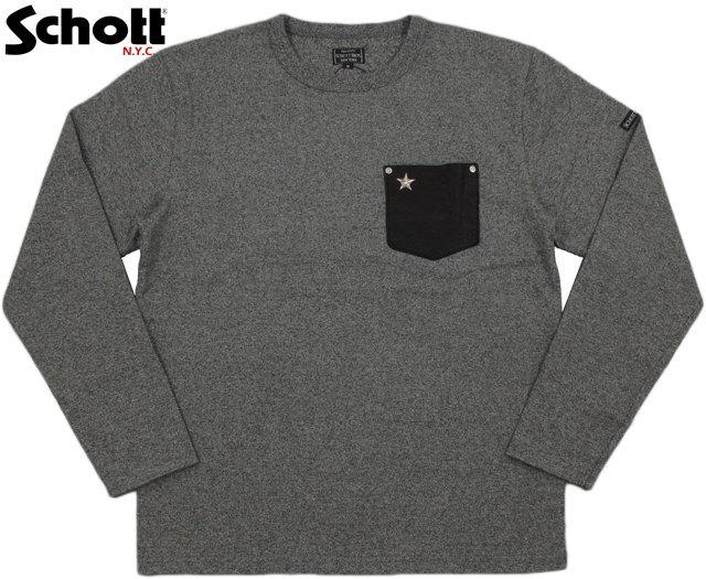 Schott/ショット#3173078DEER POCKET ONE STAR RIVET L/S T-SHIRT星型スタッズ入り、ディアースキンポケット長袖Tシャツ/ワンスター長袖TEEGREY(ヘザーグレー)