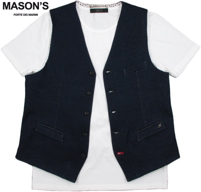 MASON'S/メイソンズ 2GI203ON GILET MASON'S UOMO MODELLO LEONARDO IN JERSEY COTONEコットンジレ/テーラードベスト NAVY(ネイビー)/JT400