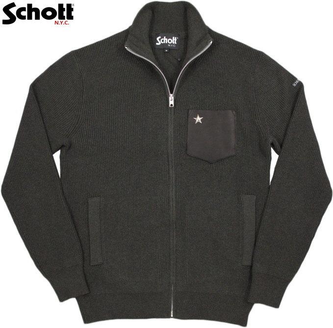 Schott/ショット#3174008 LEATHER POCKET COMMANDO ZIP SWEATER星型スタッズ入り、ディアースキンポケット コマンドジップセーター/ワンスター入り、ジップカーディガン OLIVE/BLACK(オリーブ×ブラック)
