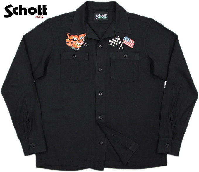"Schott/ショット #3165044 SOUVENIR SHIRT""TIGER&FLAG""""タイガー&フラッグ""スカシャツ/レーヨンスカシャツ BLACK(ブラック)"