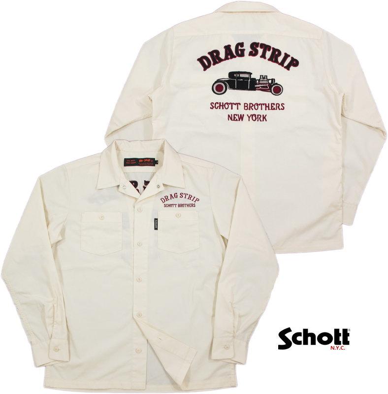 "Schott/ショット #3175003 L/S WORK SHIRT ""DRAG STRIP"" 刺しゅう入り、長袖ワークシャツ IVORY(アイボリーホワイト)"