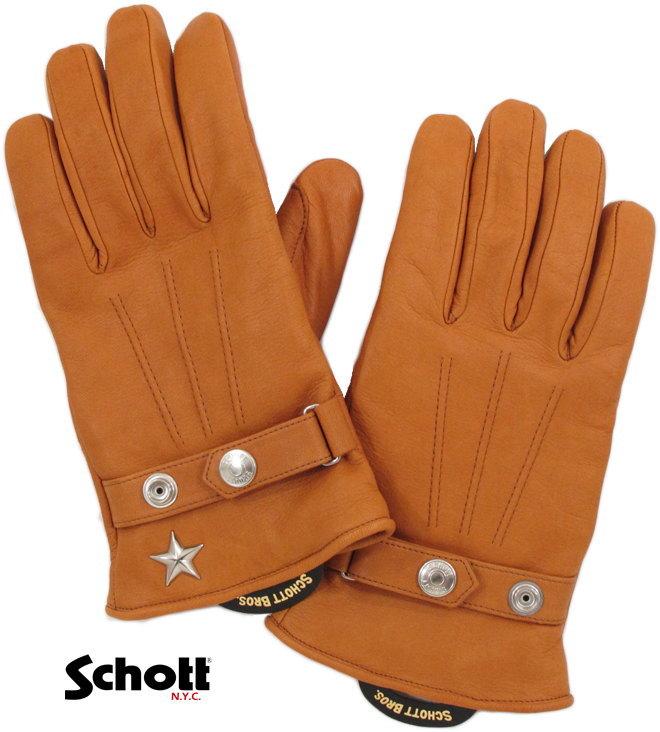 Schott/ショット PERFECTO WINTER GLOVE SHORT パーフェクトグローブ・ショート/ワンスターレザーグローブ CAMEL(キャメルブラウン)/3149026