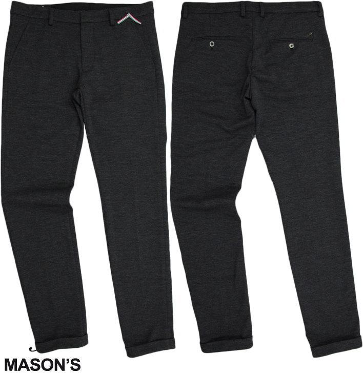 MASON'S/メイソンズ JT519 MAN CHINO PANTS MODEL TORINO JOGGING WOOL JERSEY コットン×ウール混、ストレッチチノパンツ/トラウザーCHARCOAL GREY(チャコールグレー)/9PF2D5260 P.(MILANOFASHION)