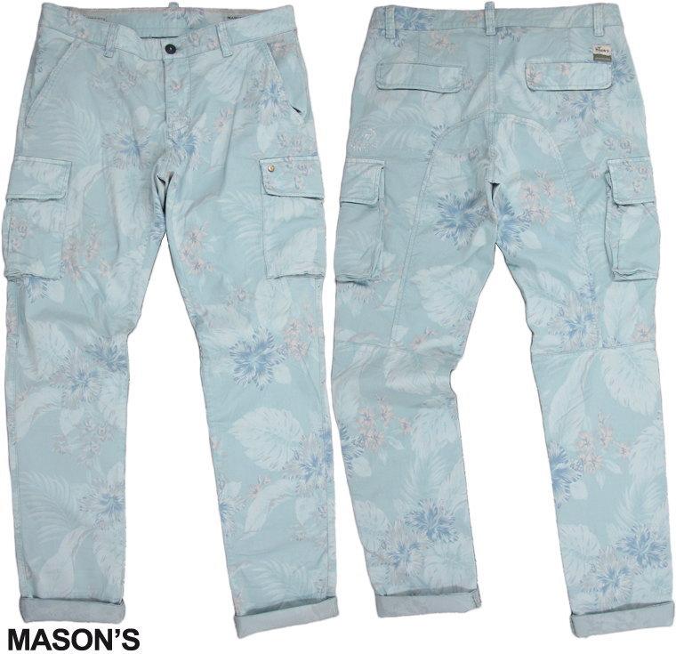 MASON'S/メイソンズ CE46S11 CARGO PANTS ボタニカルプリント柄、ストレッチカーゴパンツ/花柄カーゴパンツ/ファティーグパンツ2PN2A2145 P.(CHILE1)