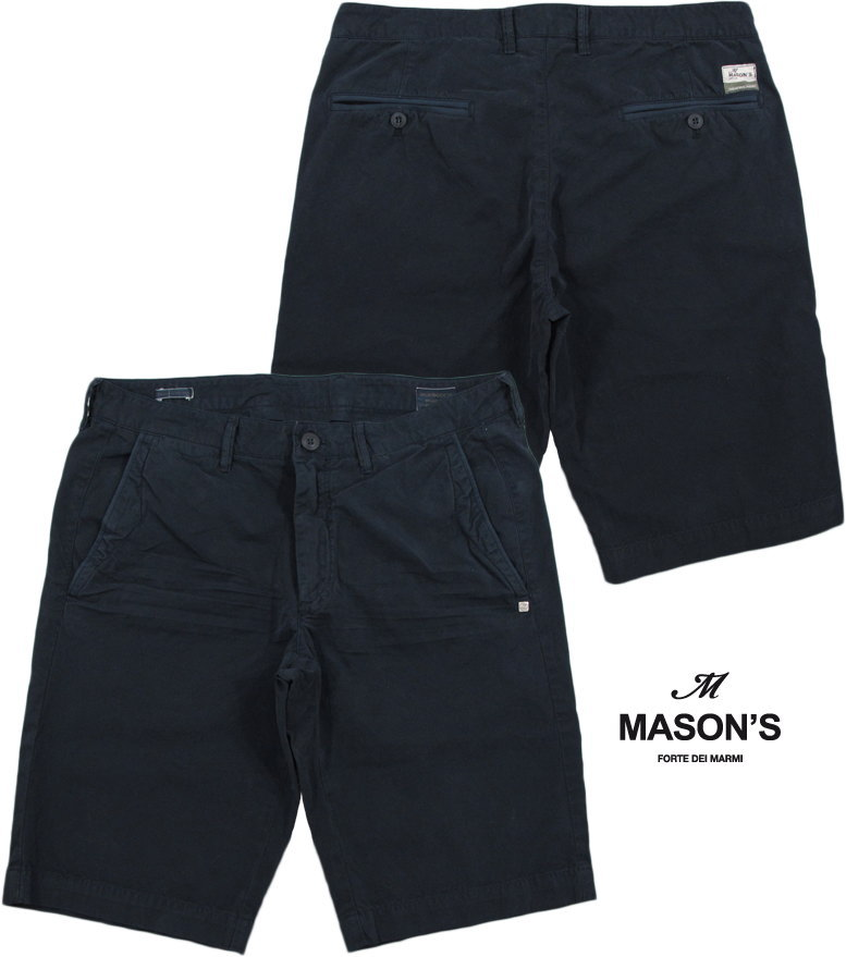 MASON'S/メイソンズ CB508 BERMUDA CHINO/ SHORTS ZIP FLYトラウザーショーツ/ショートパンツ NAVY(ネイビー) 2BE2R3215 BE(WASHINGTON)5y