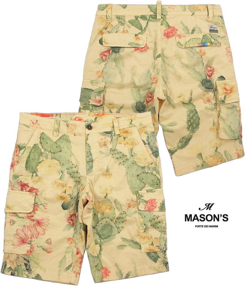MASON'S/メイソンズ CE43S22 CARGO SHORTS CHILE COTTON CACTUS PRINTボタニカルプリント、ストレッチカーゴショーツ/ショートパンツ 2BE22145 BE