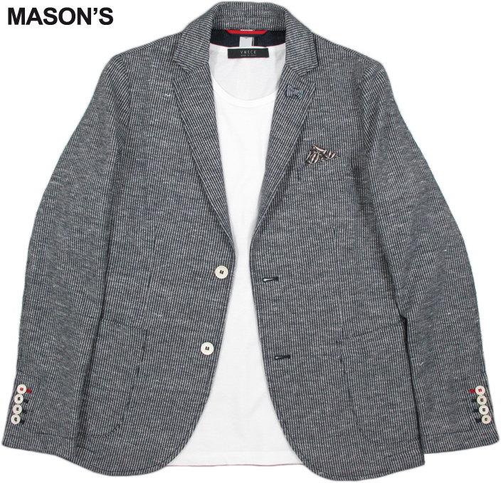 MASON'S/メイソンズ JT530 MAN BLAZER DAVINCI COTTON×LINEN JERSEYコットン×麻混テーラードジャケット,ブレザー NAVY×WHITE(ネイビー×ホワイト)/2GC2340