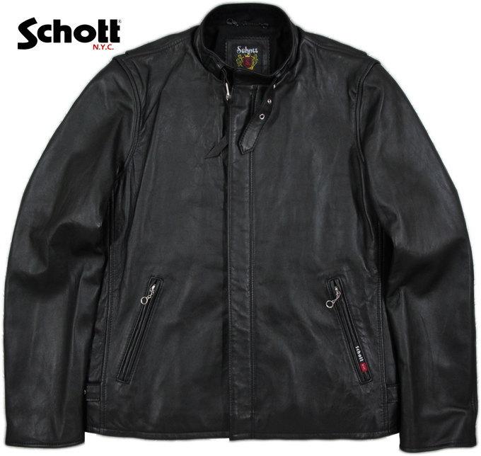 Schott/ショット SOLID CLASSIC RACER JACKET ソリッド・クラシックレーサージャケット/ライダース ジャケット BLACK(ブラック)/Lot;3161055