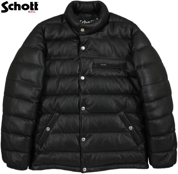 Schott/ショット LEATHER DOWN JACKET レザーダウンジャケット/レザーダウン BLACK(ブラック)/#3171058