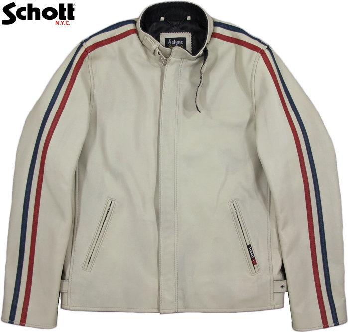 Schott/ショット CLASSIC RACER JACKET クラシック・レーサージャケット/シングルライダース WHITE×TRICOLOR(ホワイト×トリコロールライン)/3181052