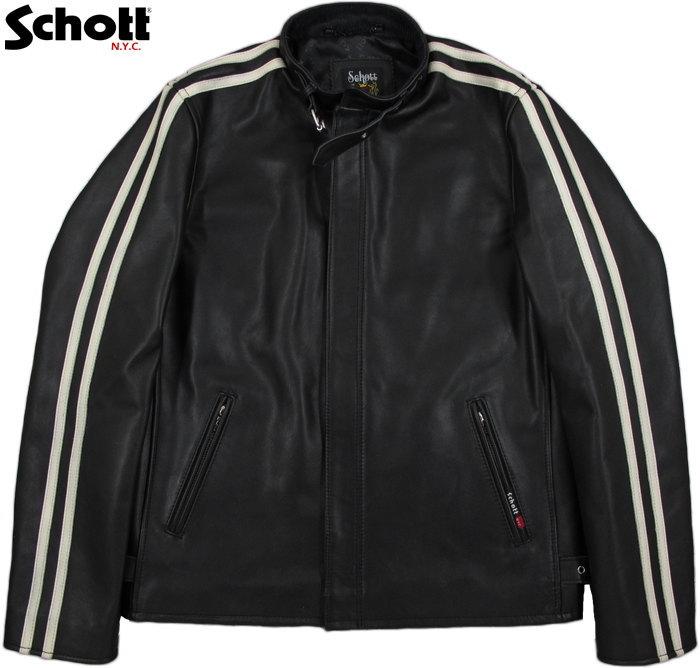 Schott/ショット CLASSIC RACER JACKET クラシック・レーサージャケット/シングルライダース BLACK(ブラック)/3181052