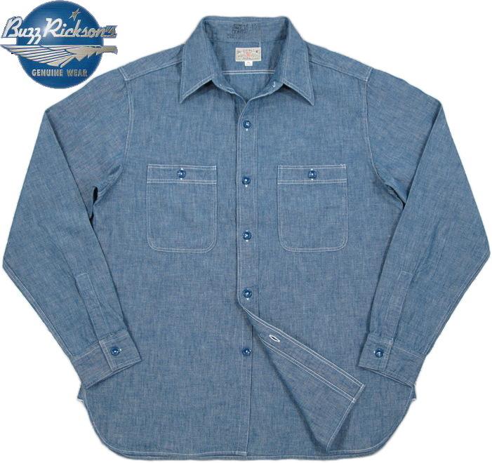 BUZZ RICKSON'S/バズリクソンズ BLUE CHAMBRAY WORK SHIRT ブルーシャンブレー ワークシャツ/長袖シャンブレーシャツ BLUE(ブルー)/BR25995