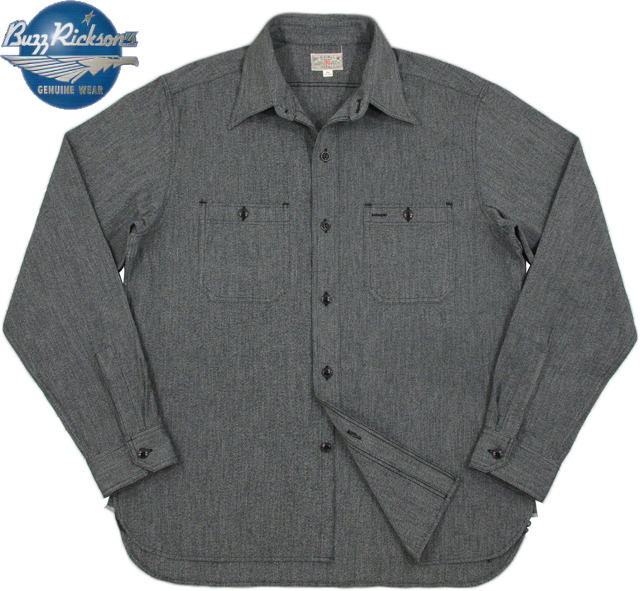 BUZZ RICKSON'S/バズリクソンズ MOCK TWIST CHAMBRAT WORK SHIRT モックツイスト・シャンブレー ワークシャツ/長袖モックシャンブレーシャツ BLACK(ブラック)/ Lot;BR26082