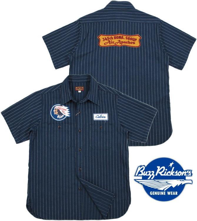 "BUZZ RICKSON'S/バズリクソンズHERRINGBONE TWILL S/S SQUADRON REUNION SHIRT STRIPE""Air Apaches""刺繍ワッペン付き、スクォードロン・リユニオンシャツ/ミリタリーシャツ NAVY(ネイビー×ホワイト)/BR36964"