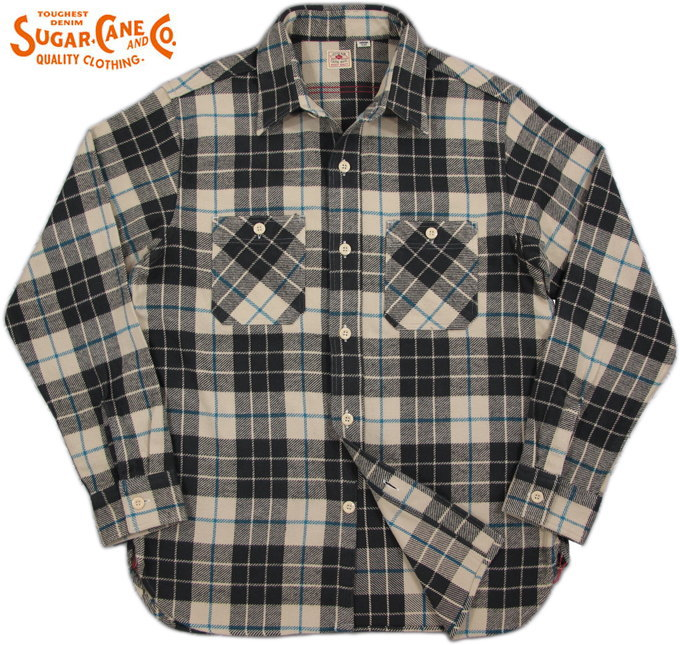 SUGAR CANE/シュガーケーン TWILL CHECK L/S WORK SHIRTツイルチェック ワークシャツ/チェックシャツ/綿ネルシャツ OFF WHITE(ベージュ×チャコールグレー)/SC27392