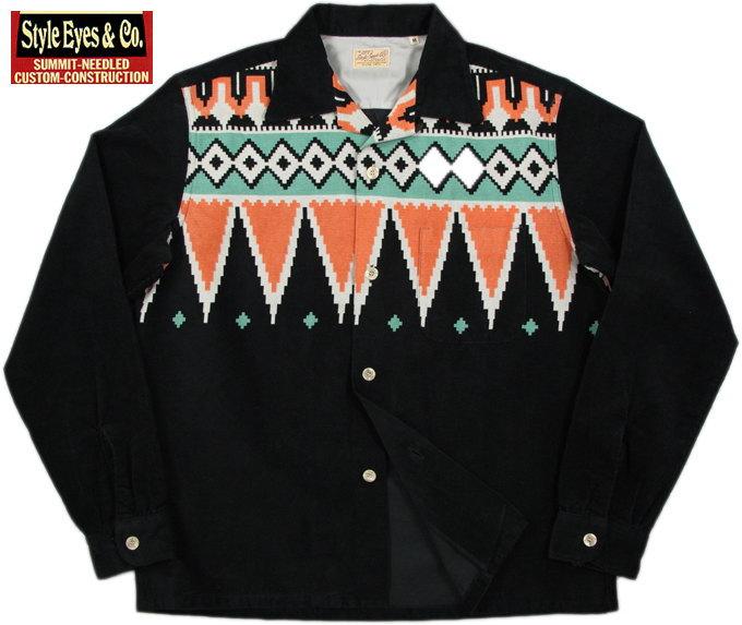 """STYLE EYES/スタイルアイズ""""GUATEMALA""""CORDUROY L/S SPORTS SHIRT グアテマラ柄コーデュロイオープンカラーシャツ/スポーツシャツ BLACK(ブラック)/SE27426"""
