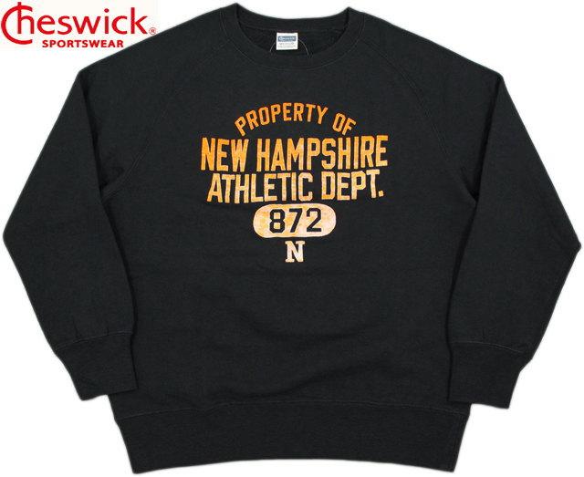 """CHESWICK/チェスウィック COTTON FLEECE L/S CREW SWEAT""""NEW HAMPSHIRE"""" ひび割れフロッキープリント入り、ラグランクルーネックスウェットシャツ/トレーナー BLACK(ブラック)/CH67391"""