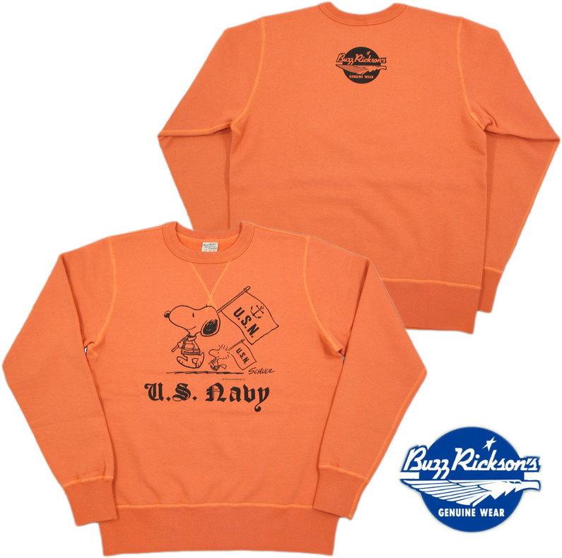 """BUZZ RICKSON'S×PEANUTS /バズリクソンズ×ピーナッツ SET-IN CREW SWEAT""""U.S. NAVY""""スヌーピー・バズスウェットシャツ/トレーナー ORANGE(オレンジ)/BR67463"""